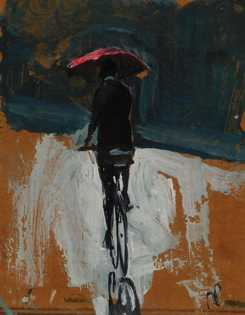 Mark-Pearson-artist-Cyclist-in-the-Rain-42cm-x-32cm-acrylic-&-ink-on-cardborad