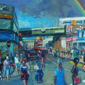 Rainbow Over Rye Lane limited edition painted by artist Mark Pearson