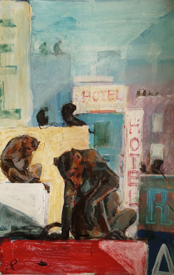Mark-Pearson-artist-Rooftop-Monkeys-Tamil-Nadu-20cm-x-15cm-acrylic-&-ink-on-paper.jgp