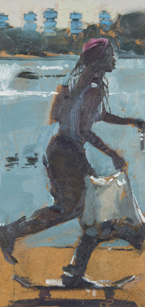 Mark-Pearson-artist-Skateboarder-Burgess-Park-34cm-x-26cm-oil-on-panel