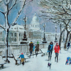 Christmas Card designed Mark Pearson Artist of the view to St Pauls, London